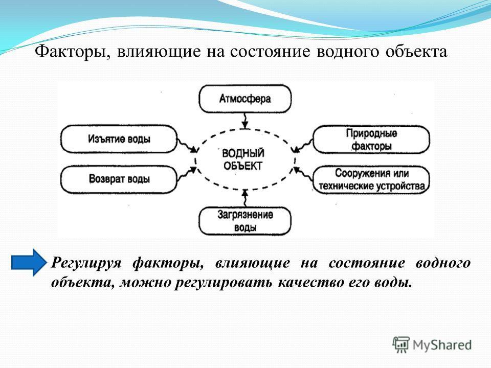 Факторы, влияющие на состояние водного объекта Регулируя факторы, влияющие на состояние водного объекта, можно регулировать качество его воды.