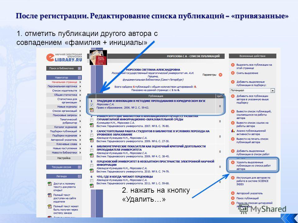 После регистрации. Редактирование списка публикаций – «привязанные» 1. отметить публикации другого автора с совпадением «фамилия + инициалы» 2. нажать на кнопку «Удалить…»