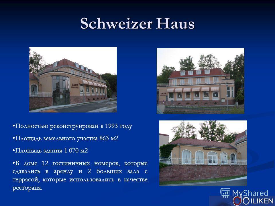 Schweizer Haus Полностью реконструирован в 1993 году Площадь земельного участка 863 м2 Площадь здания 1 070 м2 В доме 12 гостиничных номеров, которые сдавались в аренду и 2 больших зала с террасой, которые использовались в качестве ресторана.