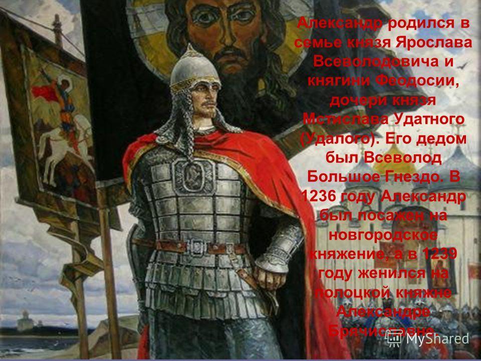 Александр родился в семье князя Ярослава Всеволодовича и княгини Феодосии, дочери князя Мстислава Удатного (Удалого). Его дедом был Всеволод Большое Гнездо. В 1236 году Александр был посажен на новгородское княжение, а в 1239 году женился на полоцкой