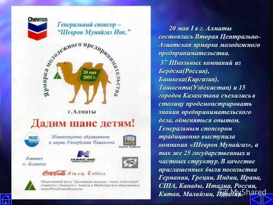 20 мая I в г. Алматы состоялась Вторая Центрально- Азиатская ярмарка молодежного предпринимательства. 20 мая I в г. Алматы состоялась Вторая Центрально- Азиатская ярмарка молодежного предпринимательства. 37 Школьных компаний из Бердска(Россия), Бишке