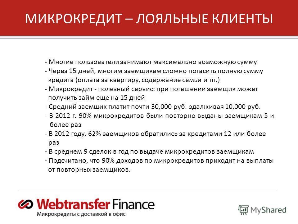 5 Copyright 2012, Unified Payments, LLC МИКРОКРЕДИТ – ЛОЯЛЬНЫЕ КЛИЕНТЫ - Многие пользователи занимают максимально возможную сумму - Через 15 дней, многим заемщикам сложно погасить полную сумму кредита (оплата за квартиру, содержание семьи и тп.) - Ми