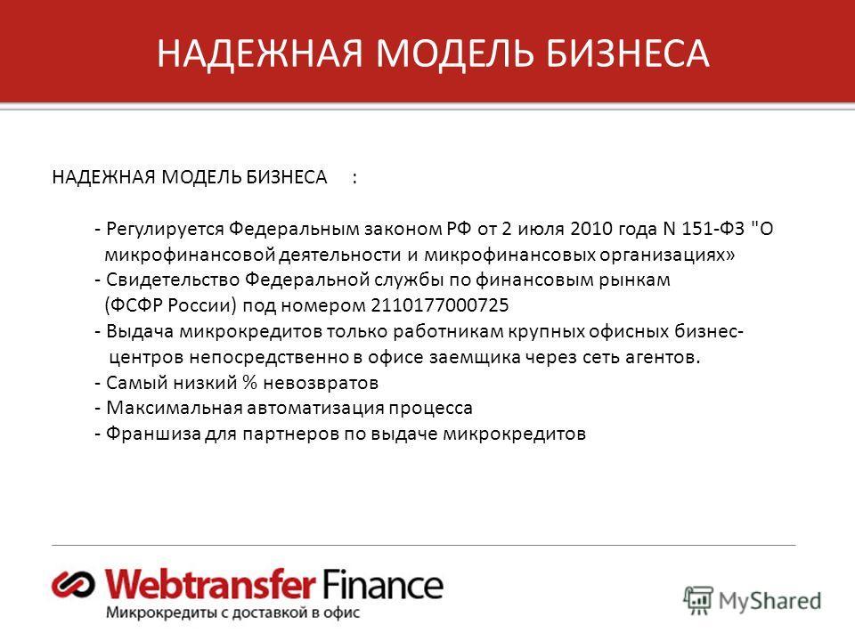 6 Copyright 2012, Unified Payments, LLC НАДЕЖНАЯ МОДЕЛЬ БИЗНЕСА НАДЕЖНАЯ МОДЕЛЬ БИЗНЕСА : - Регулируется Федеральным законом РФ от 2 июля 2010 года N 151-ФЗ