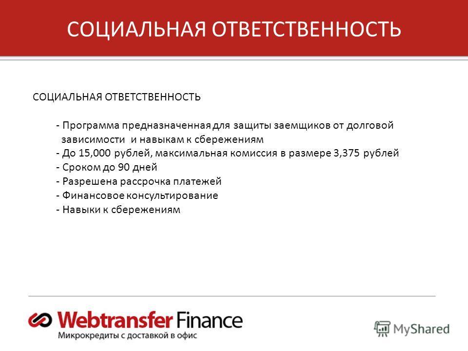 7 Copyright 2012, Unified Payments, LLC СОЦИАЛЬНАЯ ОТВЕТСТВЕННОСТЬ СОЦИАЛЬНАЯ ОТВЕТСТВЕННОСТЬ - Программа предназначенная для защиты заемщиков от долговой зависимости и навыкам к сбережениям - До 15,000 рублей, максимальная комиссия в размере 3,375 р