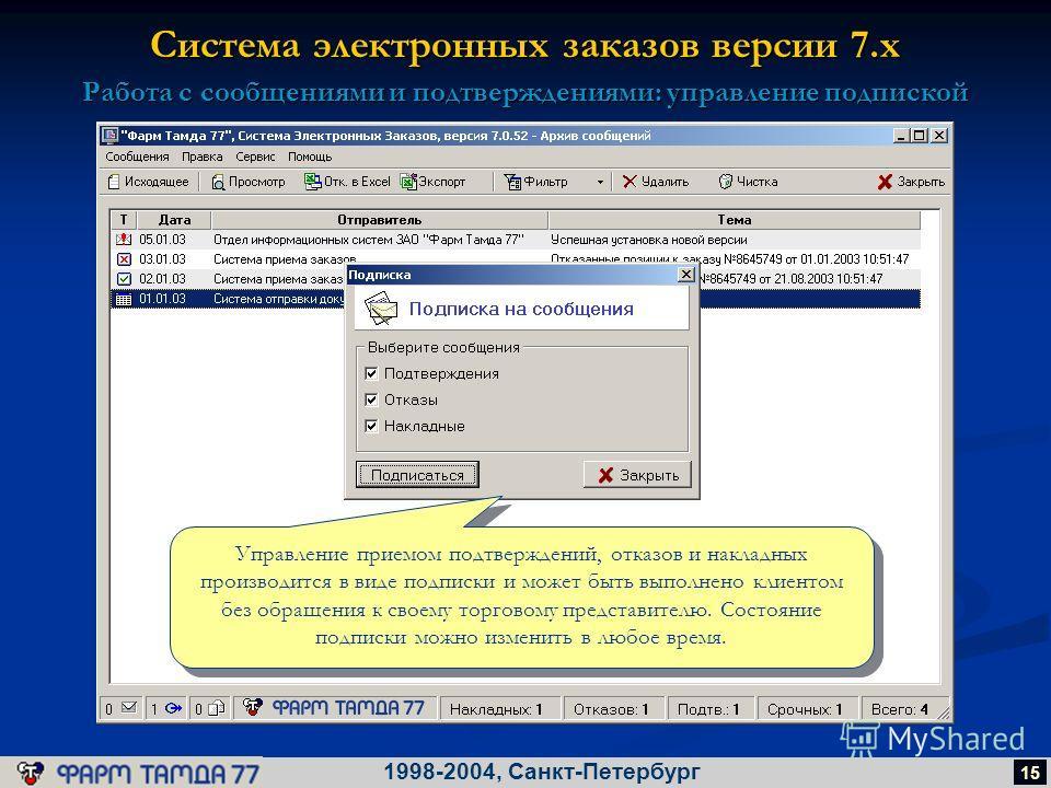 Система электронных заказов версии 7.х 1998-2004, Санкт-Петербург 15 Работа с сообщениями и подтверждениями: управление подпиской Управление приемом подтверждений, отказов и накладных производится в виде подписки и может быть выполнено клиентом без о