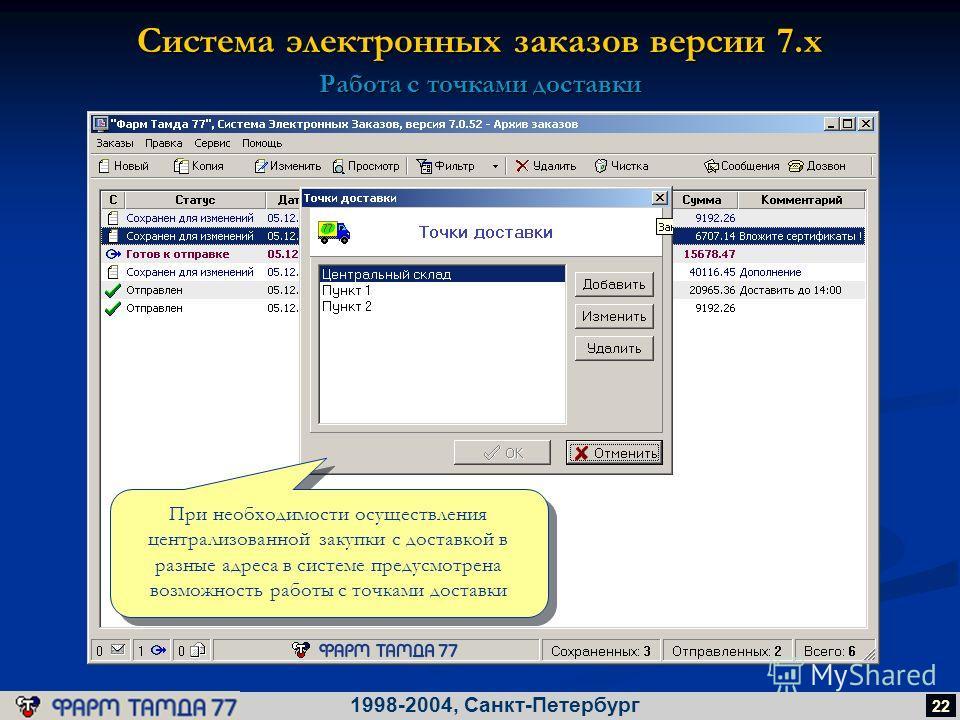 Система электронных заказов версии 7.х 1998-2004, Санкт-Петербург 22 Работа с точками доставки При необходимости осуществления централизованной закупки с доставкой в разные адреса в системе предусмотрена возможность работы с точками доставки