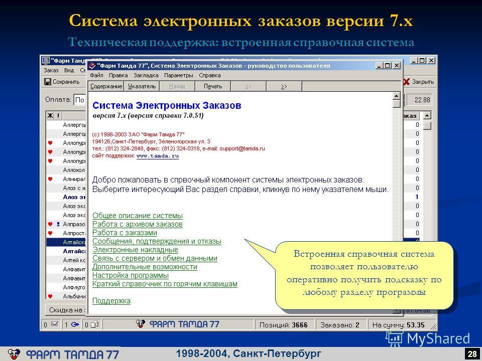 Система электронных заказов версии 7.х 1998-2004, Санкт-Петербург 28 Техническая поддержка: встроенная справочная система Встроенная справочная система позволяет пользователю оперативно получить подсказку по любому разделу программы