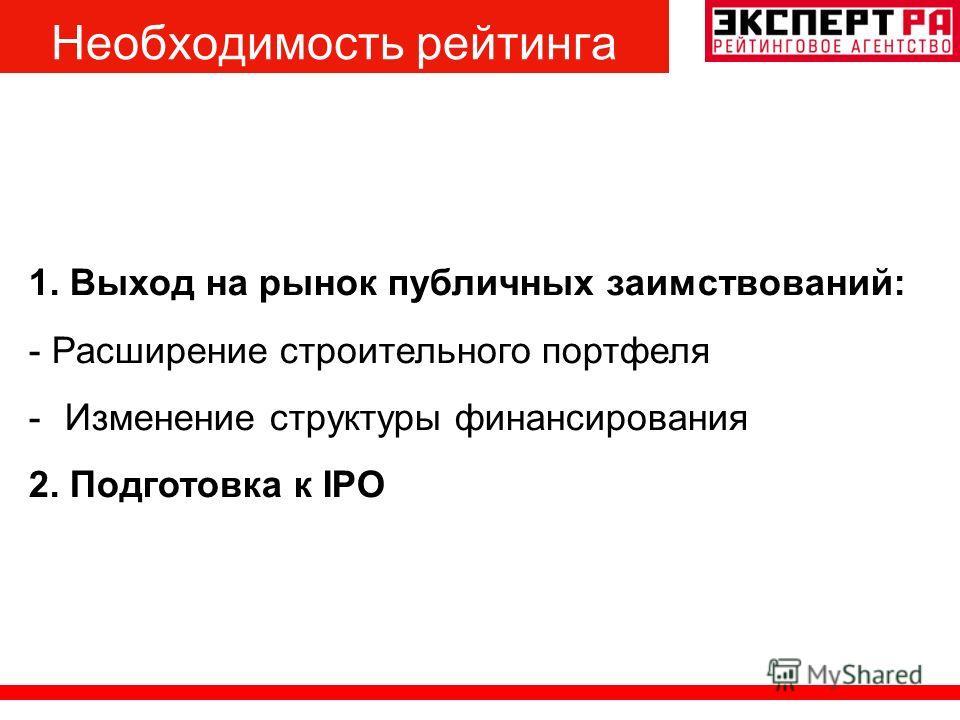 1. Выход на рынок публичных заимствований: - Расширение строительного портфеля -Изменение структуры финансирования 2. Подготовка к IPO Необходимость рейтинга