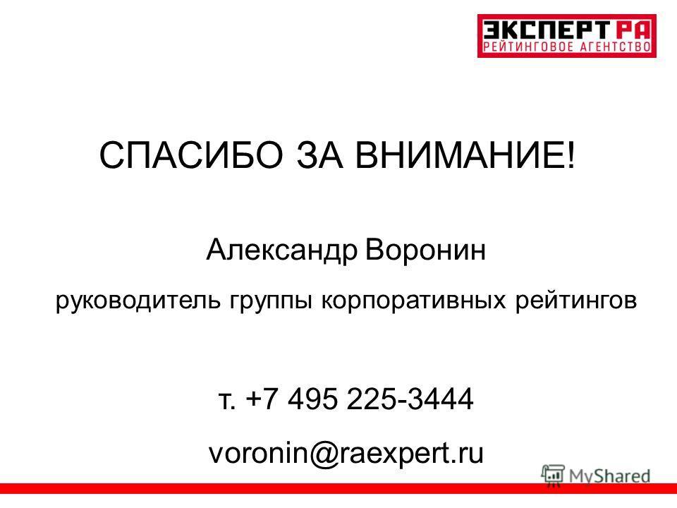 СПАСИБО ЗА ВНИМАНИЕ! Александр Воронин руководитель группы корпоративных рейтингов т. +7 495 225-3444 voronin@raexpert.ru