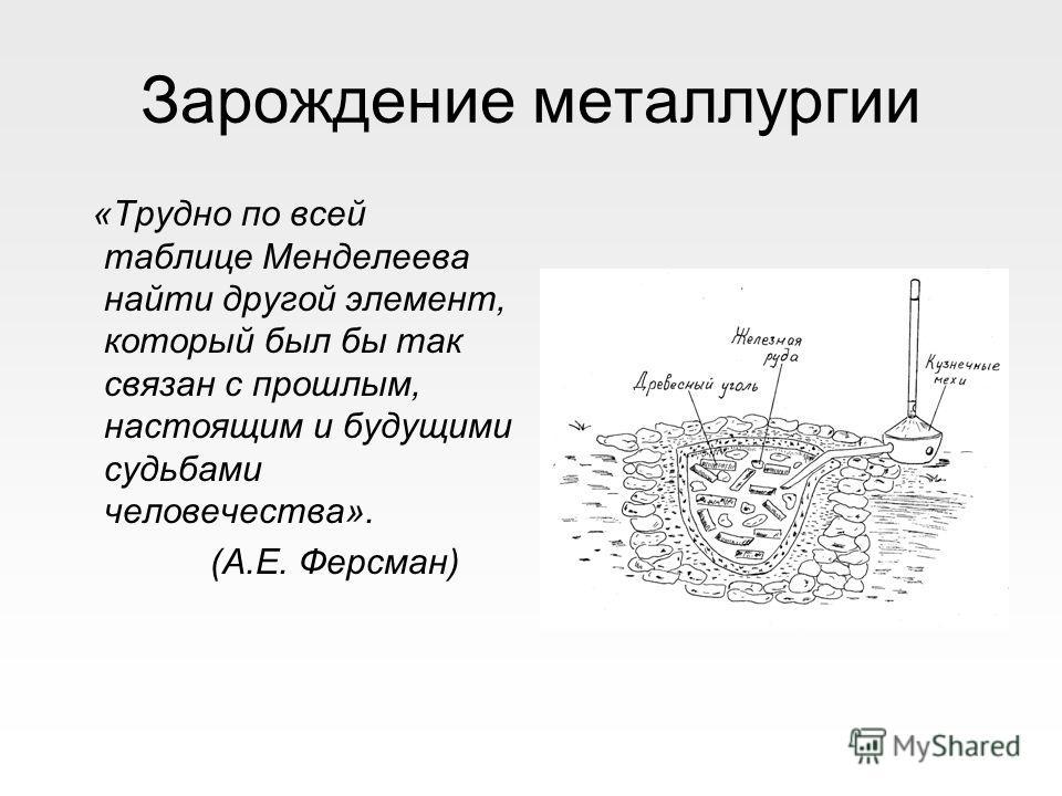 Зарождение металлургии «Трудно по всей таблице Менделеева найти другой элемент, который был бы так связан с прошлым, настоящим и будущими судьбами человечества». (А.Е. Ферсман)