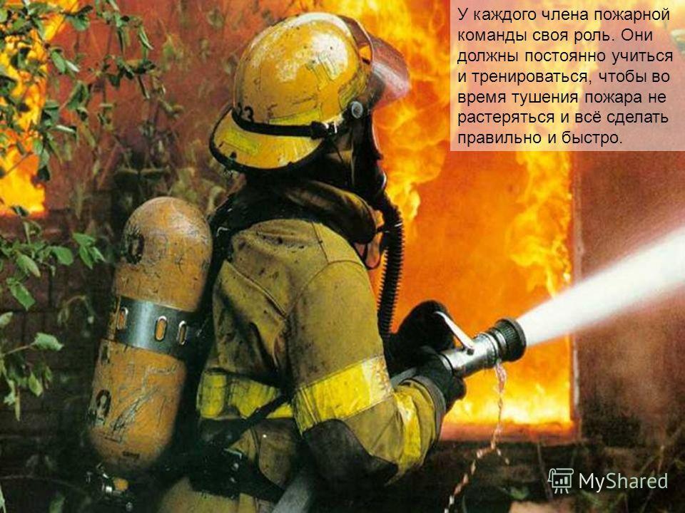 У каждого члена пожарной команды своя роль. Они должны постоянно учиться и тренироваться, чтобы во время тушения пожара не растеряться и всё сделать правильно и быстро.