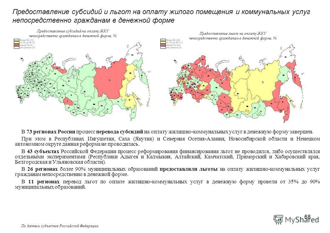 68 По данным субъектов Российской Федерации В 73 регионах России процесс перевода субсидий на оплату жилищно-коммунальных услуг в денежную форму завершен. При этом в Республиках Ингушетия, Саха (Якутия) и Северная Осетия-Алания, Новосибирской области