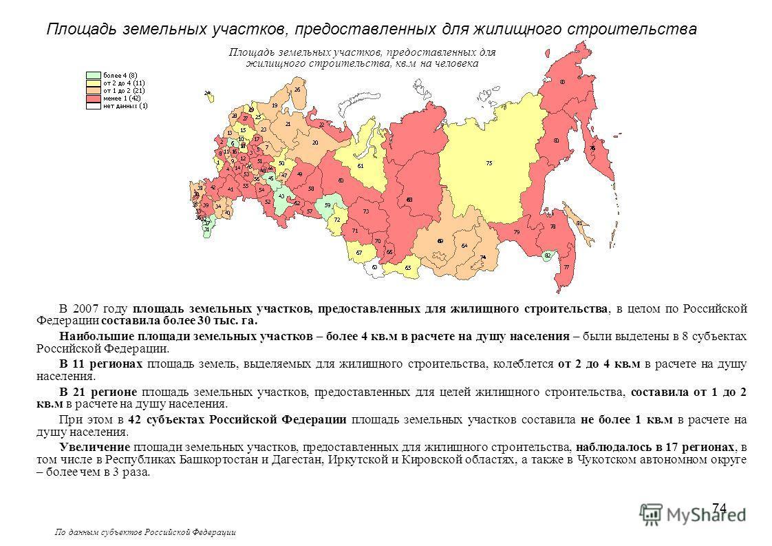 74 По данным субъектов Российской Федерации Площадь земельных участков, предоставленных для жилищного строительства, кв.м на человека Площадь земельных участков, предоставленных для жилищного строительства В 2007 году площадь земельных участков, пред