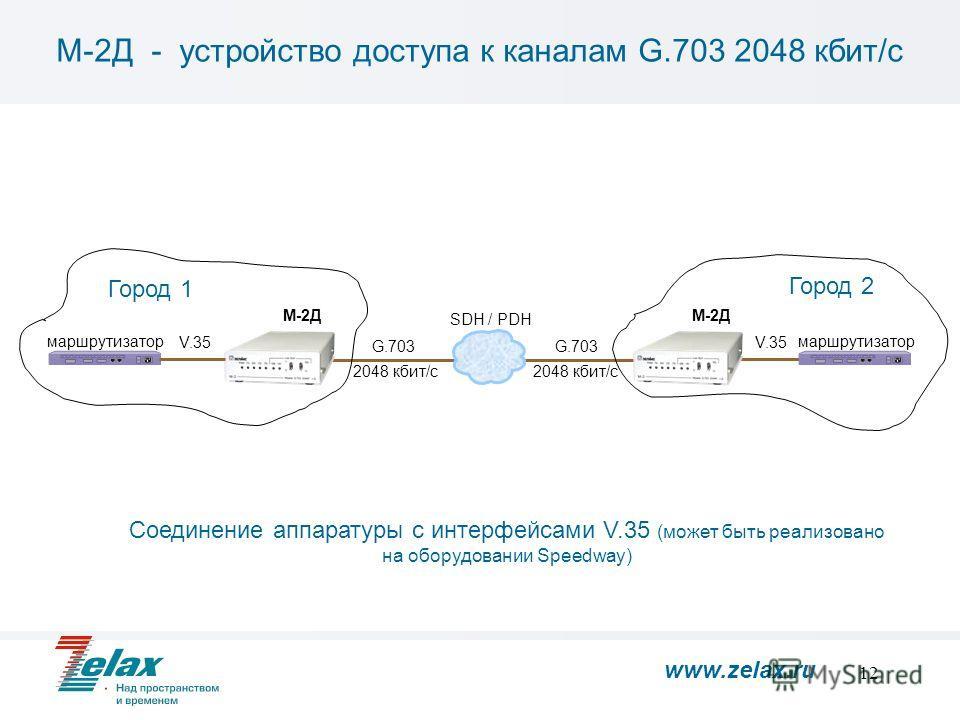 12 М-2Д - устройство доступа к каналам G.703 2048 кбит/с M-2Д маршрутизатор SDH / PDH 2048 кбит/с G.703 Соединение аппаратуры с интерфейсами V.35 (может быть реализовано на оборудовании Speedway) V.35 маршрутизатор M-2Д Город 1 Город 2 www.zelax.ru