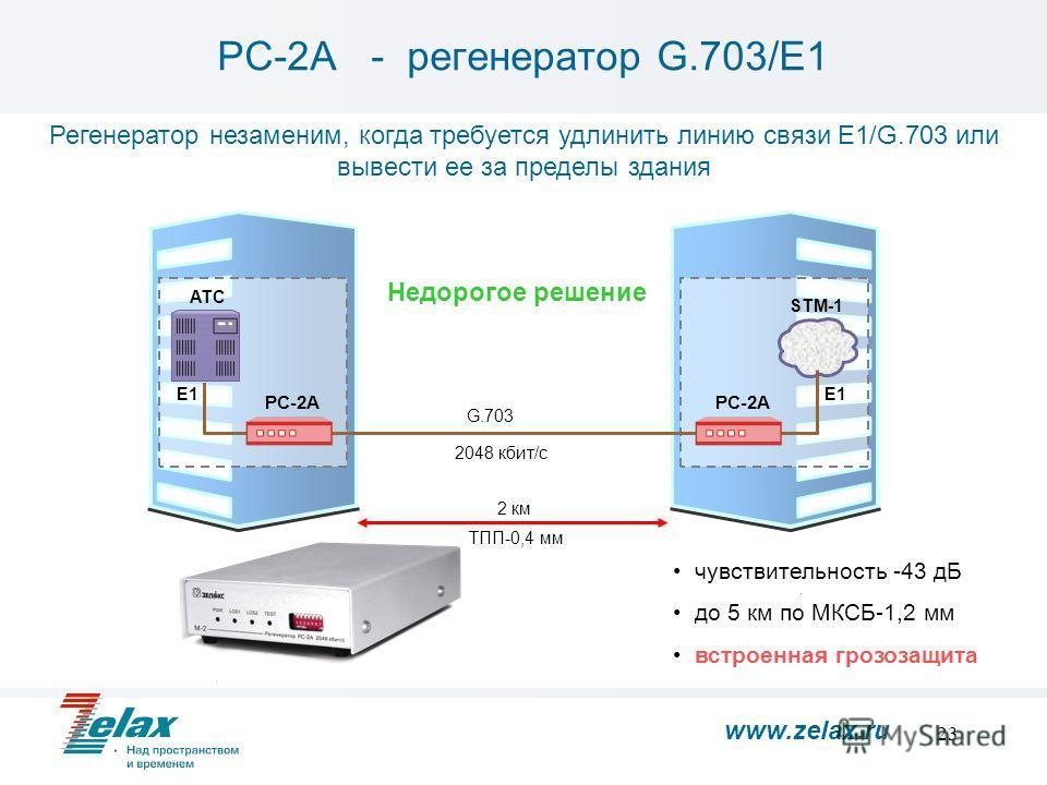 23 РС-2А - регенератор G.703/E1 2 км ТПП-0,4 мм Е1 АТС STM-1 Е1 РC-2А чувствительность -43 дБ до 5 км по МКСБ-1,2 мм встроенная грозозащита G.703 2048 кбит/с Недорогое решение Регенератор незаменим, когда требуется удлинить линию связи Е1/G.703 или в
