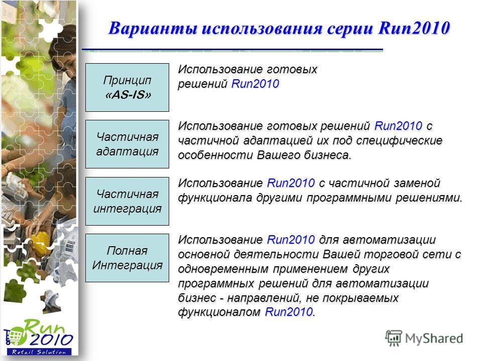 Варианты использования серии Run2010 Полная Интеграция Частичная интеграция Частичная адаптация Принцип «AS-IS» Использование готовых решений Run2010 Использование готовых решений Run2010 с частичной адаптацией их под специфические особенности Вашего