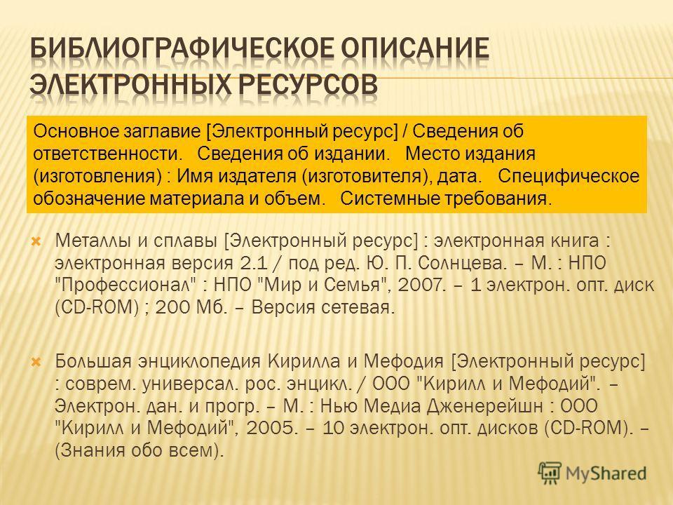 Металлы и сплавы [Электронный ресурс] : электронная книга : электронная версия 2.1 / под ред. Ю. П. Солнцева. – М. : НПО