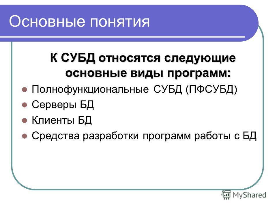 Основные понятия К СУБД относятся следующие основные виды программ: Полнофункциональные СУБД (ПФСУБД) Серверы БД Клиенты БД Средства разработки программ работы с БД