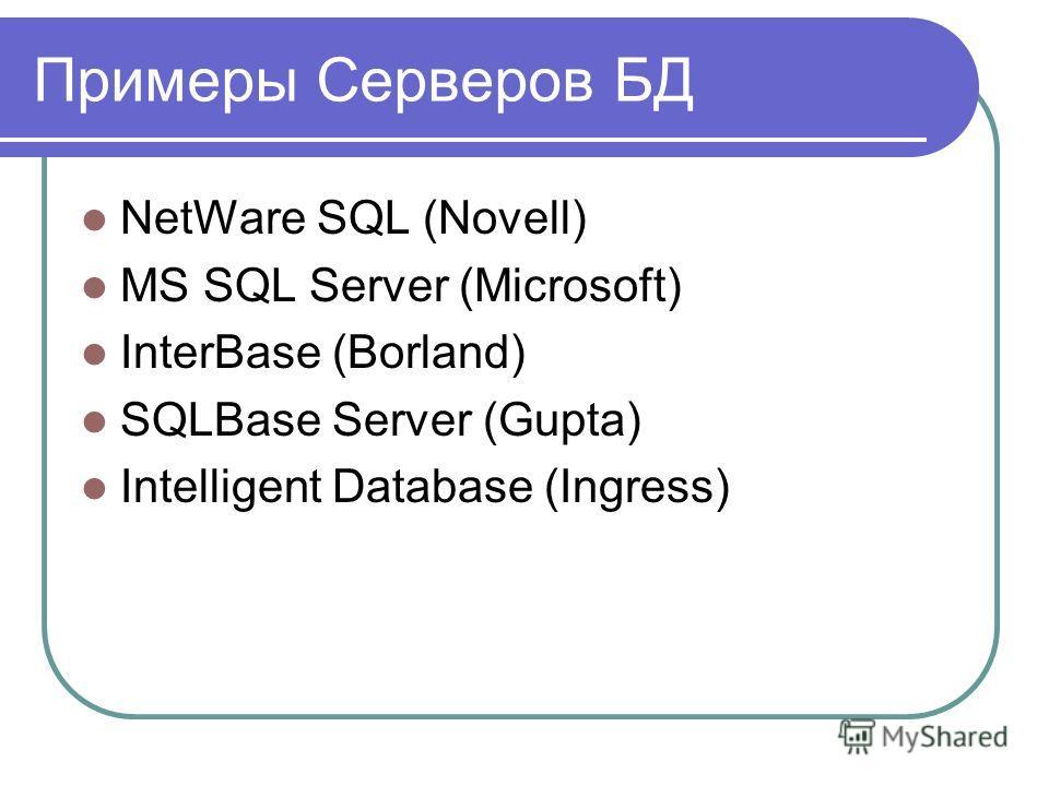 Примеры Серверов БД NetWare SQL (Novell) MS SQL Server (Microsoft) InterBase (Borland) SQLBase Server (Gupta) Intelligent Database (Ingress)
