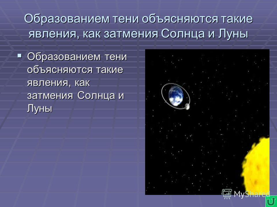 Образованием тени объясняются такие явления, как затмения Солнца и Луны Образованием тени объясняются такие явления, как затмения Солнца и Луны Образованием тени объясняются такие явления, как затмения Солнца и Луны