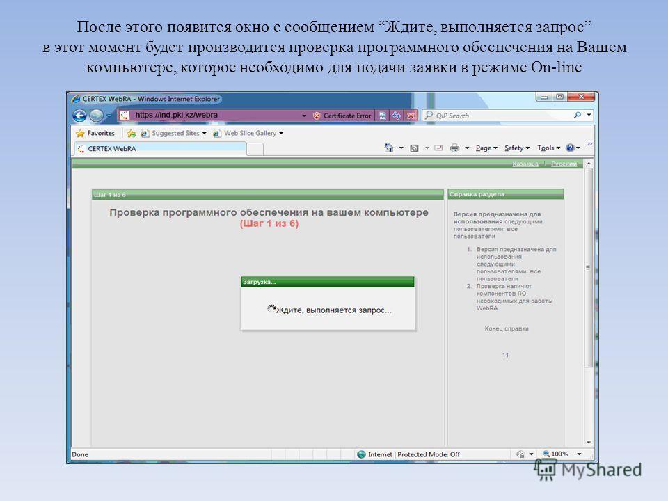 После этого появится окно с сообщением Ждите, выполняется запрос в этот момент будет производится проверка программного обеспечения на Вашем компьютере, которое необходимо для подачи заявки в режиме On-line