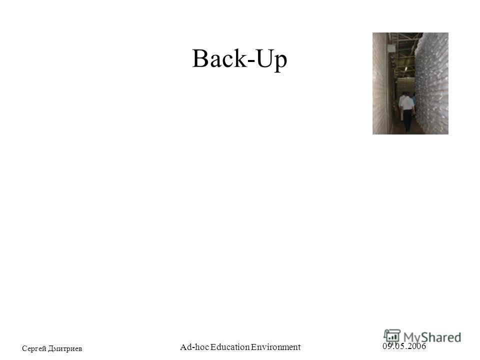 Сергей Дмитриев 09.05.2006 Ad-hoc Education Environment Back-Up