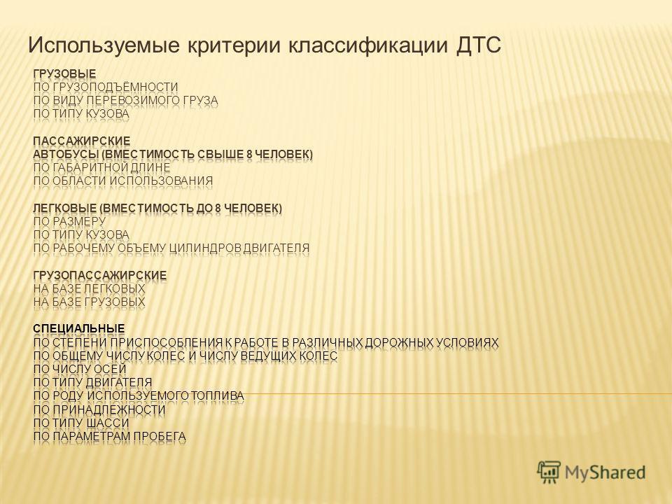 Используемые критерии классификации ДТС