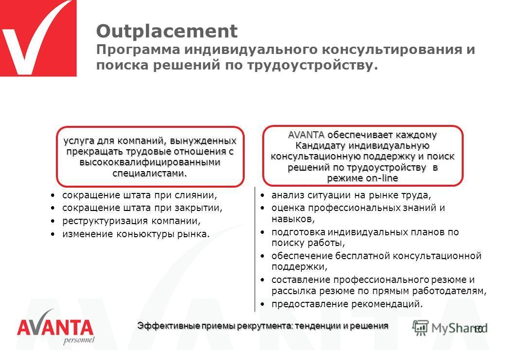 Эффективные приемы рекрутмента: тенденции и решения 10 Outplacement Программа индивидуального консультирования и поиска решений по трудоустройству. сокращение штата при слиянии, сокращение штата при закрытии, реструктуризация компании, изменение конь
