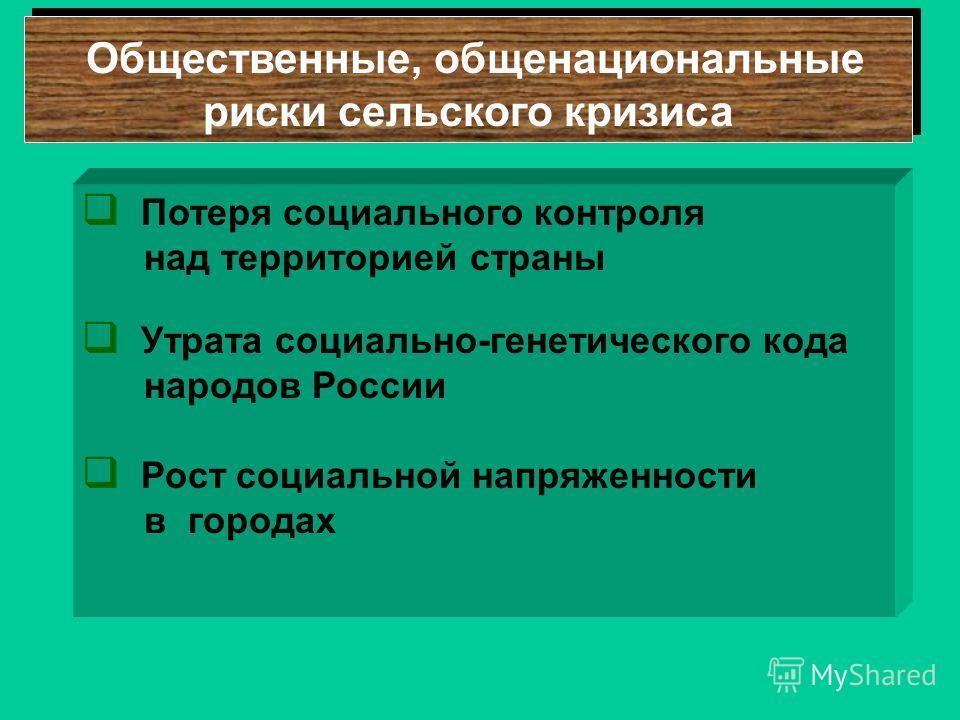Общественные, общенациональные риски сельского кризиса Потеря социального контроля над территорией страны Утрата социально-генетического кода народов России Рост социальной напряженности в городах