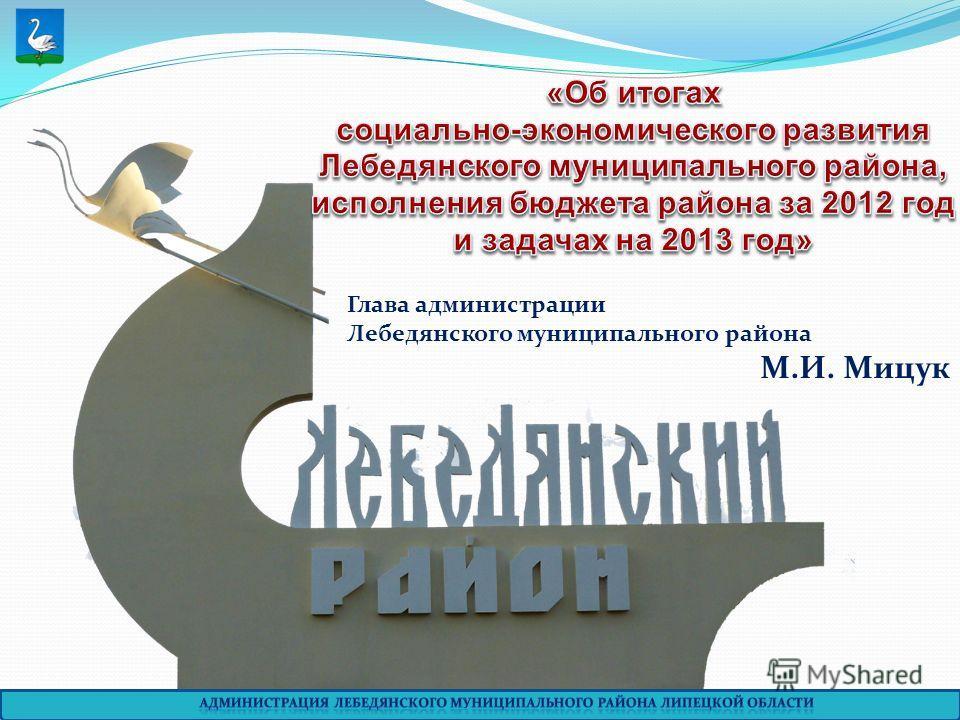 Глава администрации Лебедянского муниципального района М.И. Мицук