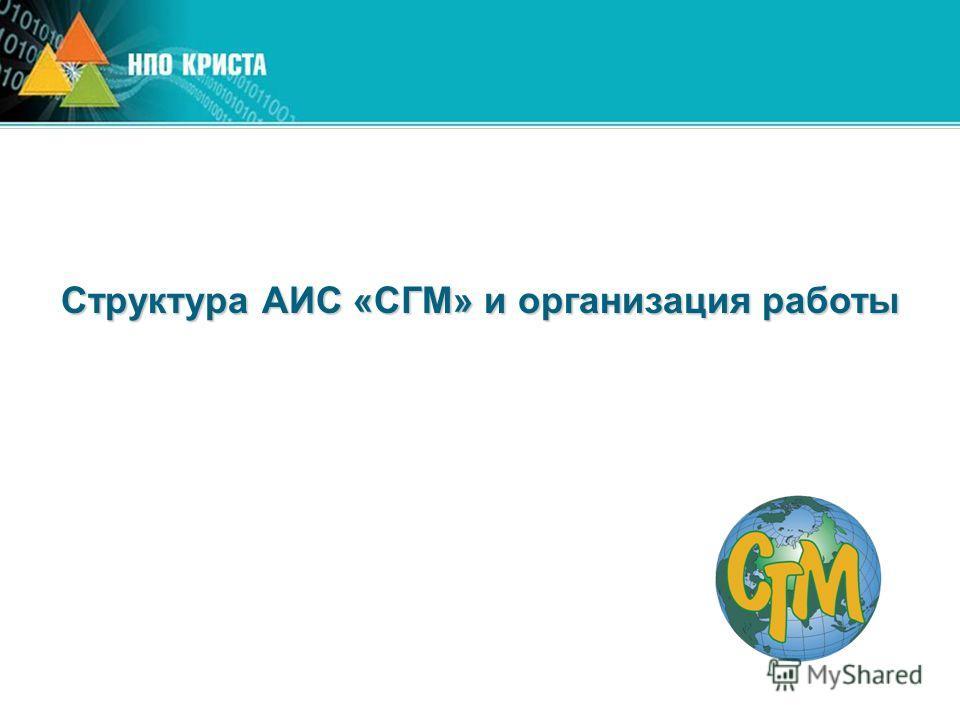 Структура АИС «СГМ» и организация работы