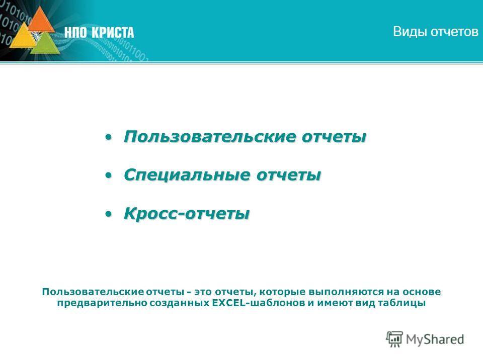 Виды отчетов Пользовательские отчетыПользовательские отчеты Специальные отчетыСпециальные отчеты Кросс-отчетыКросс-отчеты Пользовательские отчеты - это отчеты, которые выполняются на основе предварительно созданных EXCEL-шаблонов и имеют вид таблицы