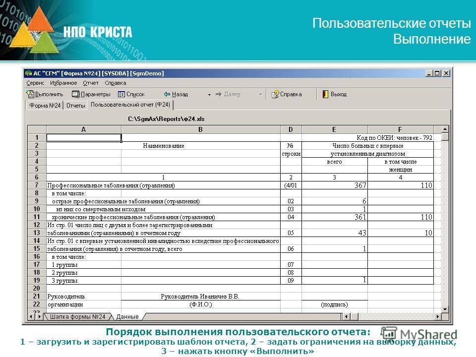 Пользовательские отчеты Выполнение Порядок выполнения пользовательского отчета: 1 – загрузить и зарегистрировать шаблон отчета, 2 – задать ограничения на выборку данных, 3 – нажать кнопку «Выполнить»
