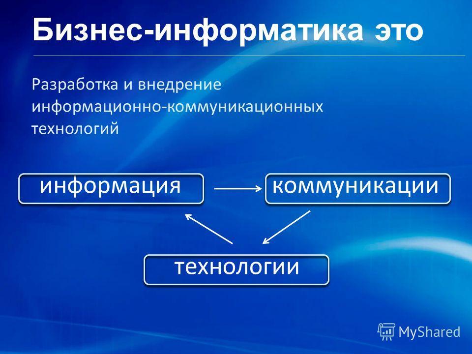 Бизнес-информатика это Разработка и внедрение информационно-коммуникационных технологий информациякоммуникации технологии