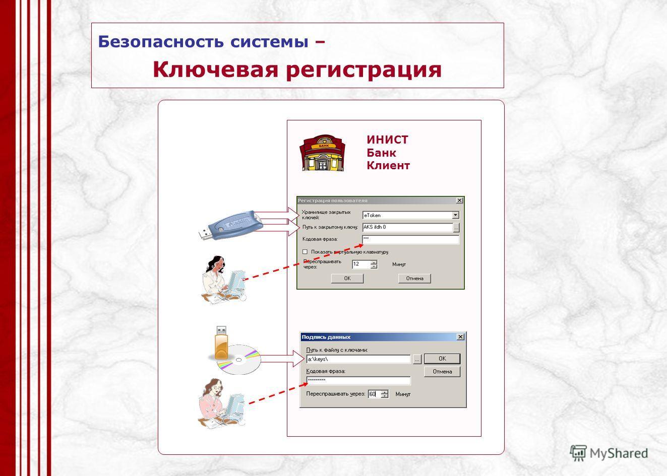 ИНИСТ Банк Клиент Безопасность системы – Ключевая регистрация