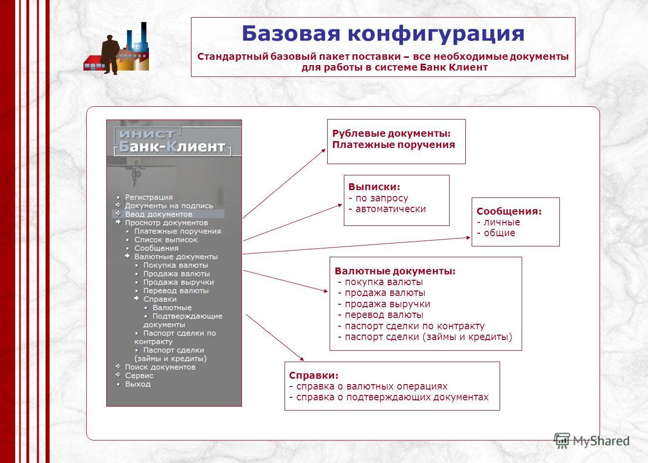 Базовая конфигурация Стандартный базовый пакет поставки – все необходимые документы для работы в системе Банк Клиент Рублевые документы: Платежные поручения Валютные документы: - покупка валюты - продажа валюты - продажа выручки - перевод валюты - па