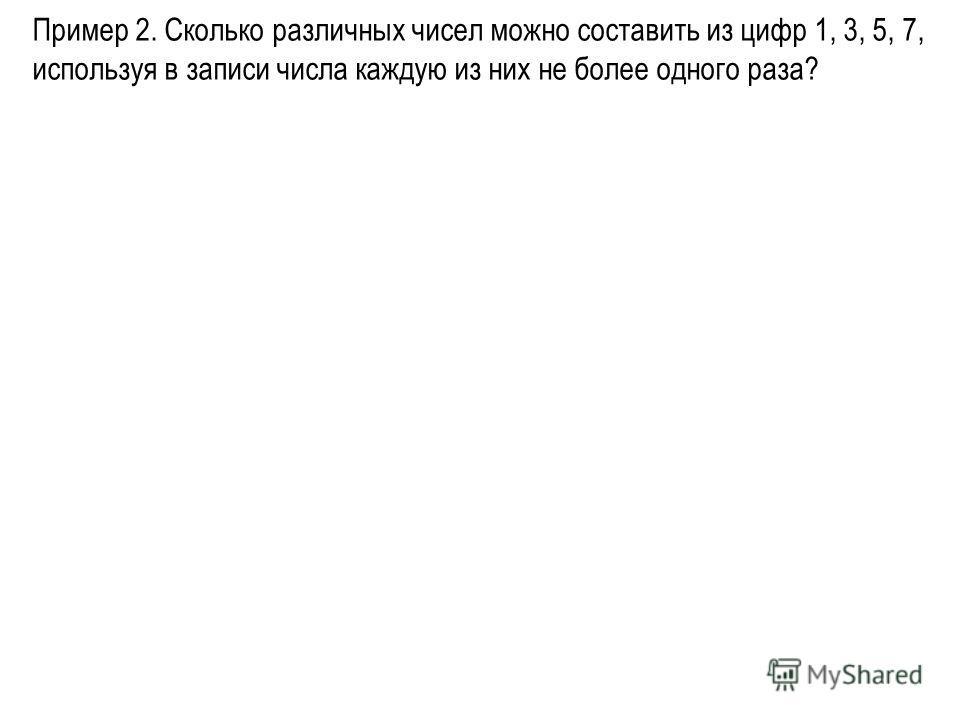 Пример 2. Сколько различных чисел можно составить из цифр 1, 3, 5, 7, используя в записи числа каждую из них не более одного раза?