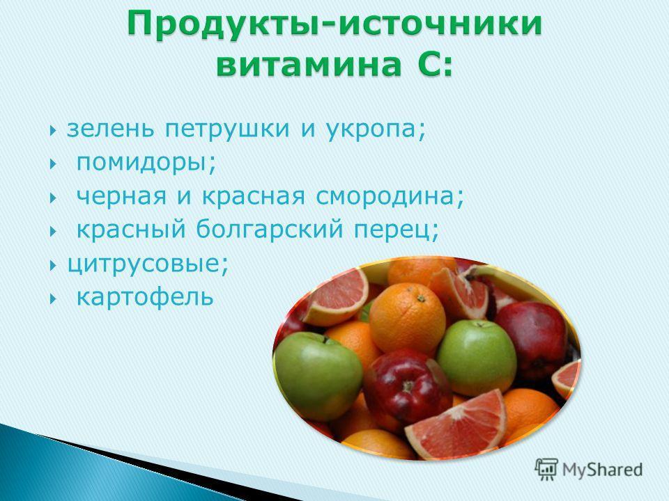 зелень петрушки и укропа; помидоры; черная и красная смородина; красный болгарский перец; цитрусовые; картофель