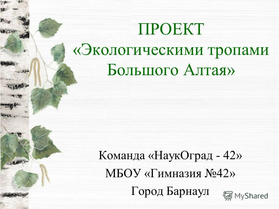 ПРОЕКТ «Экологическими тропами Большого Алтая» Команда «НаукОград - 42» МБОУ «Гимназия 42» Город Барнаул
