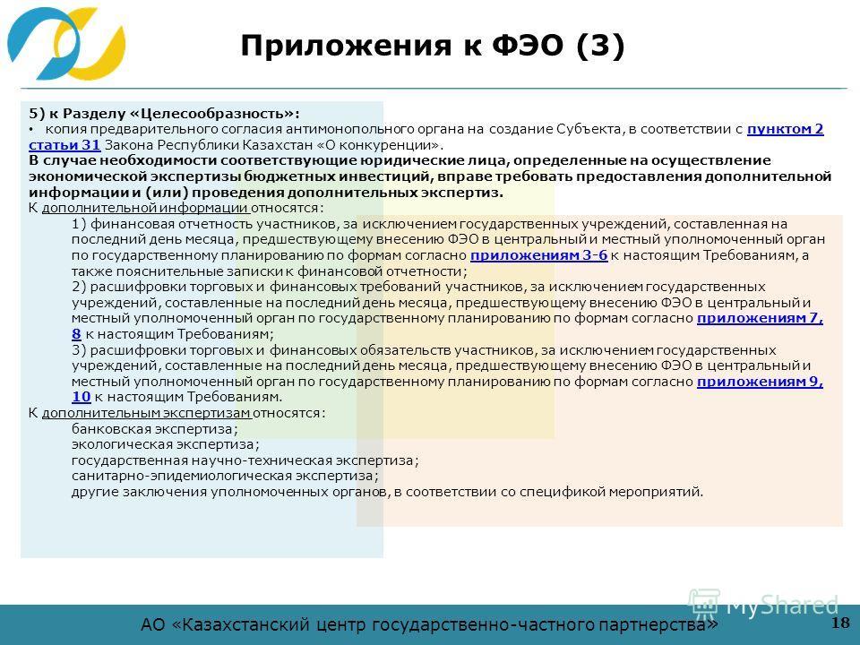 АО «Казахстанский центр государственно-частного партнерства » Приложения к ФЭО (3) 18 5) к Разделу «Целесообразность»: копия предварительного согласия антимонопольного органа на создание Субъекта, в соответствии с пунктом 2 статьи 31 Закона Республик
