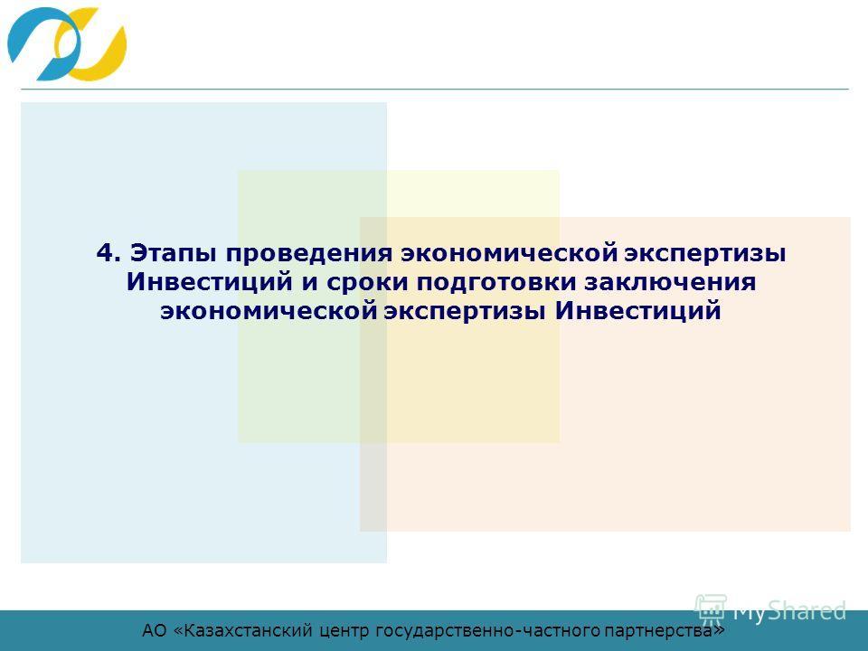 АО «Казахстанский центр государственно-частного партнерства » 4. Этапы проведения экономической экспертизы Инвестиций и сроки подготовки заключения экономической экспертизы Инвестиций