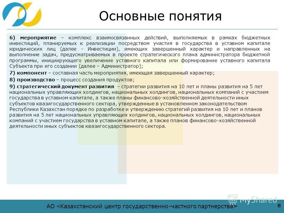 АО «Казахстанский центр государственно-частного партнерства » Основные понятия 6) мероприятие – комплекс взаимосвязанных действий, выполняемых в рамках бюджетных инвестиций, планируемых к реализации посредством участия в государства в уставном капита
