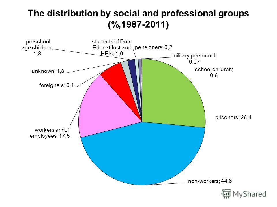 The distribution by social and professional groups (%,1987-2011)