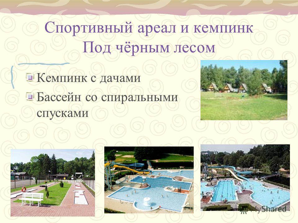 Спортивный ареал и кемпинк Под чëрным лесом Кемпинк с дачами Бассейн со спиральными спусками