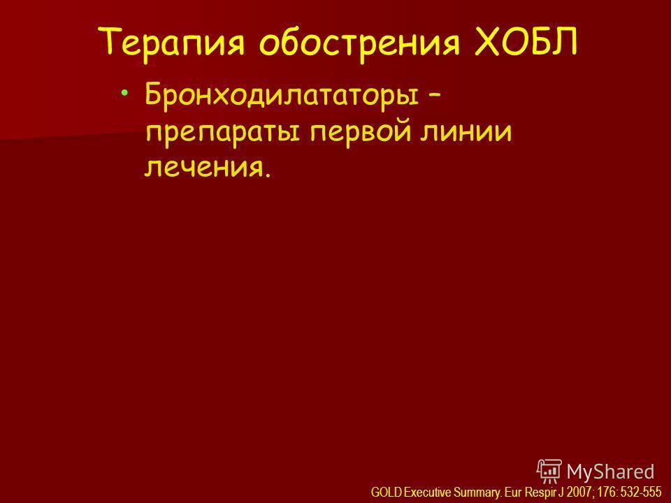 Терапия обострения ХОБЛ Бронходилататоры – препараты первой линии лечения. GOLD Executive Summary. Eur Respir J 2007; 176: 532-555