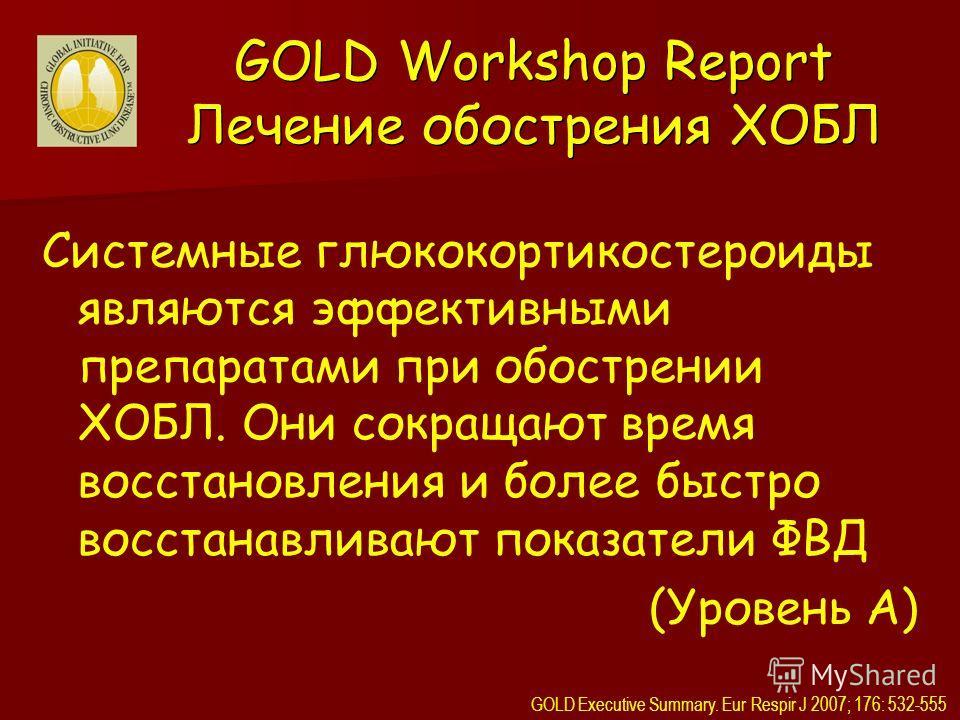 Системные глюкокортикостероиды являются эффективными препаратами при обострении ХОБЛ. Они сокращают время восстановления и более быстро восстанавливают показатели ФВД (Уровень A) GOLD Workshop Report Лечение обострения ХОБЛ GOLD Executive Summary. Eu