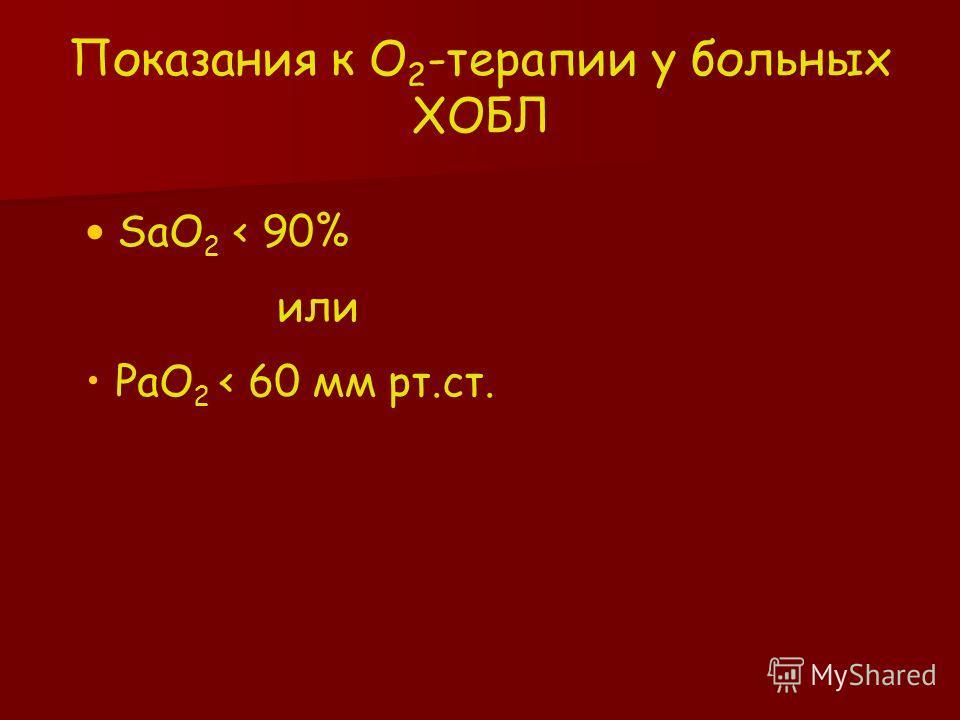SaO 2 < 90% или РаО 2 < 60 мм рт.ст. Показания к О 2 -терапии у больных ХОБЛ