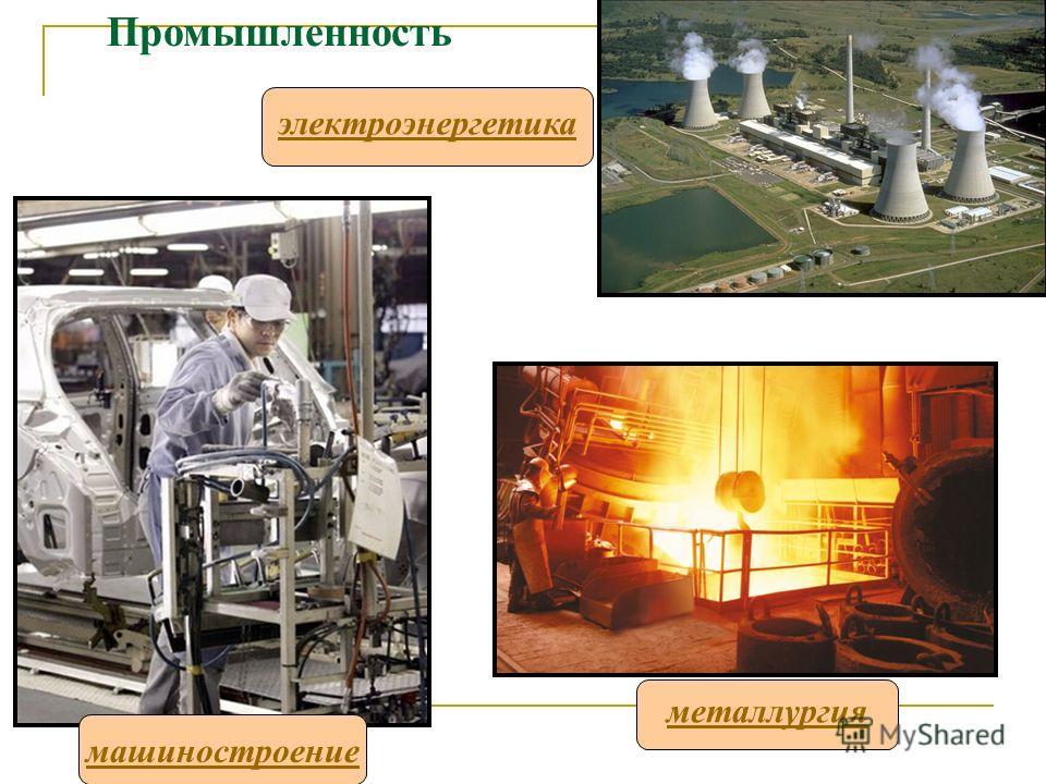 Промышленность машиностроение металлургия электроэнергетика
