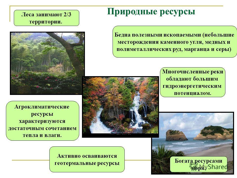 Природные ресурсы Бедна полезными ископаемыми (небольшие месторождения каменного угля, медных и полиметаллических руд, марганца и серы) Леса занимают 2/3 территории. Многочисленные реки обладают большим гидроэнергетическим потенциалом. Богата ресурса