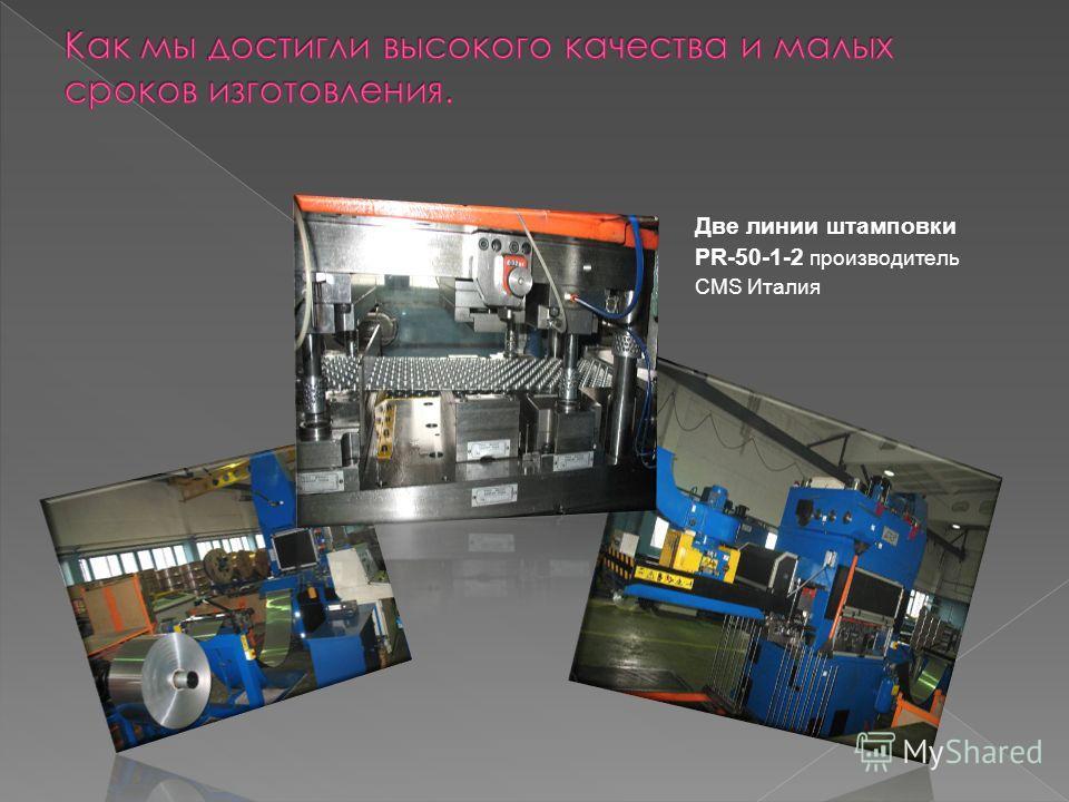 Две линии штамповки PR-50-1-2 производитель CMS Италия